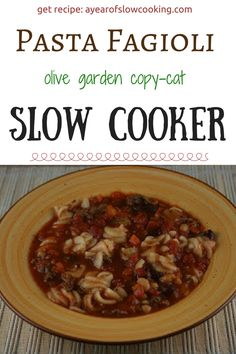 I can't even count how many times we've made this soup! It is truly one of our family favorites. It makes a big batch so it's perfect for company, or you can freeze the leftovers if you'd like. It's based upon Olive Garden's Pasta E. Fagioli and this is for the crockpot slow cooker from ayearofslowcooking.com