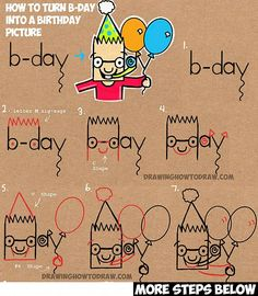 How to Draw Cartoon Boy Celebrating Birthday & Holding Balloons from the Word b-day - Simple Steps Lesson