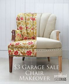 3 garage sale chair gets linen makeover, painted furniture, rustic furniture, reupholster