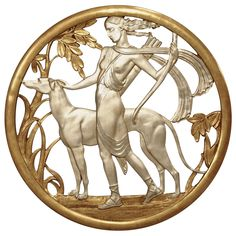 Important Art Deco Mythological Gilt Wall Plaque | From a unique collection of antique and modern decorative art at https://www.1stdibs.com/furniture/wall-decorations/decorative-art/