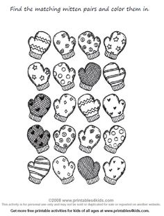 Preschool Math Worksheet Match the Mittens : Printables for Kids – free word search puzzles, coloring pages, and other activities