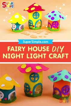 Make a glowing fairy house night light with an upcycled jar and some felt. You can decorate your fairy house however you like!