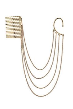 Comb Chain Hanger, fits over one ear and connects to hair in the rear.