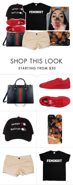 """""""Untitled #186"""" by asiaanicolee ❤ liked on Polyvore featuring Gucci, Puma and Current/Elliott"""