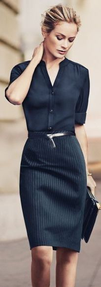 Navy Pinstriped Pencil Skirt by The Simply Luxurious Life #navy