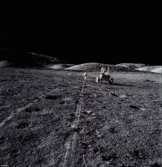 Apollo XVII, like Apollos XV and XVI left tire tracks nearly everywhere they traveled. In the windless, rainless, erosion-free environment, the tracks endure, close to half-a-century on. This image, captured in a haunting black and white, captures what a lonely business making those permanent marks could be