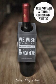 Printable and Editable Chalkboard Wine Tag