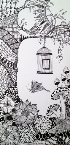 Zentangled Garden This Is My Second Zentangle I Like Drawing Normal Objects And Scenes
