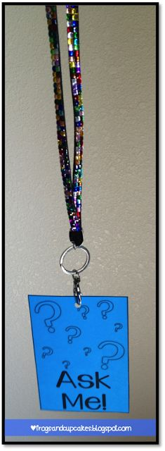 """An """"ask me"""" badge would be perfect for one of my student volunteers to wear during recess or lunch when they volunteer in the library. They could help other students find a book, help them search in Destiny, or answer questions. Now I need to find a fancy lanyard to really make this look special."""