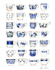 Print of original watercolor painting of blue and white teacups, all antique china patterns in cobalt blue, some with gilt accents. Makes a great piece of kitchen or dining room art. Add this darling teacup collage to your Blue and White collection! Inspired by Royal Copenhagen porcelain, Carolyne Roehm design, tulips and tulipiere vases, Valentino's Delft collection, and Blue and White Chinoiserie.
