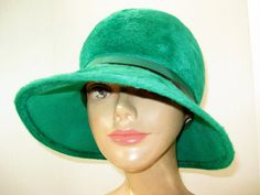 1960's Fabulous Green Fur Felt Mod Girl Cloche by TheInstantMemory
