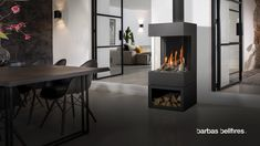 All Details You Need to Know About Home Decoration - Modern Home Fireplace, Fireplace Design, 3 Sided Fireplace, Plywood Furniture, Home Living Room, Living Room Decor, Warehouse Living, Freestanding Fireplace, Log Burner