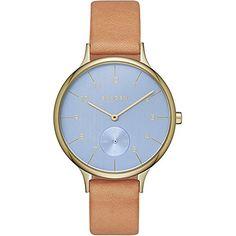 Skagen Anita Sub Eye Leather Watch (Brown/Blue) Skagen