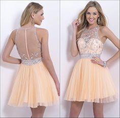 Pretty Girls Crew Neck Sheer Back Short Homecoming Party Dress Beaded Tulle Sleeveless Knee Length A-line Illusion Zipper Cocktail Dresses Online with $89.53/Piece on Weddingdressesonline's Store | DHgate.com