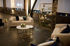 modern and cozy lounge set with gold and blue accents | Bridalbliss.com | Portland Wedding | Oregon Event Planning and Design |  Mosca Studio