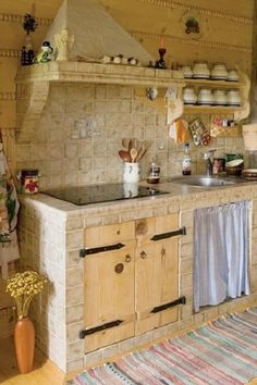 The most beautiful open kitchens - Frenchy Fancy - Contemporary house - Barn Kitchen, Rustic Kitchen Design, Home Decor Kitchen, Diy Kitchen, Kitchen Interior, Tabarka, Kitchen Organisation, Concrete Kitchen, Cuisines Design