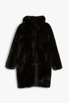 Monki Image 1 of Hooded fur coat in Black