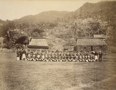 The Princes' Hut and native police: Amherst and Captain Herbert on left; Seed on the right