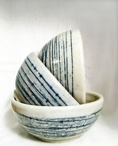 White and Blue Striped Stoneware