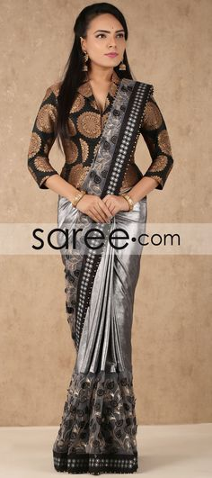 Grey and Silver Satin Saree with Sequins Work By Asopalav Brocade Blouse Designs, Fancy Blouse Designs, Designer Blouse Patterns, Brocade Blouses, Saree Wearing Styles, Saree Styles, Indian Designer Sarees, Indian Sarees, Sari Design
