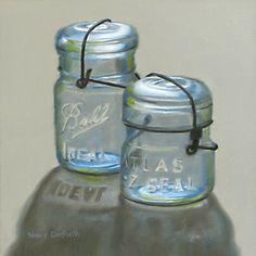 """Daily Paintworks - """"Blue Canning Jars"""" - Original Fine Art for Sale - © Nance Danforth"""