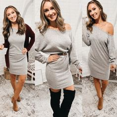 Off The Shoulder Heather Grey Sweater Dress, Free Shipping! #happy #me #styleinspiration #tunic #louisvuitton #boutiquedeals #scarf #fun #LLS #follow Spring Outfits, Winter Outfits, Grey Sweater Dress, Skinny Pants, Alternative Fashion, Off The Shoulder, Heather Grey, Street Style, Style Inspiration