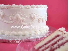 "Recipe for CakeBoss's White Velvet Wedding Cake   Makes 7 1/2 cups batter, enough for two full 8"" rounds or one 9x13"" sheet."