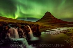 """A Winter Nights Dream"" The Aurora Borealis over Kirkjufell Falls in Iceland. 1.5 minute exposure."