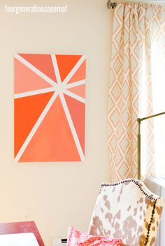 Our Orange Ombre Wall Art {tutorial} - Four Generations One Roof
