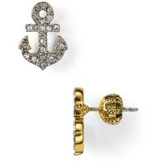 Juicy Couture Set Sail Pave Anchor Stud Earrings ($36) ❤ liked on Polyvore