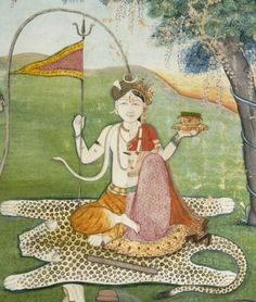 Ardhanarishvara (the combined form of Shiva and Parvati) and the Descent of the Ganges c. 1820 Probably made in Kangra, Himachal Pradesh, India Opaque watercolor and gold on paper