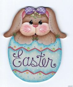 """BUNNY """"Easter"""" Egg - Designed and handpainted by Pamela House"""