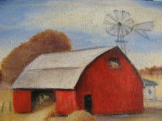 1978 Vintage Miniature Oil Painting , Big Red Barn, Oil on Wood Board, Folk Art, Country, Primitive. Hay Stack, Wind Mill, Signed Chauvin on Etsy, $120.00