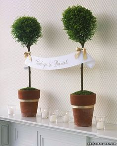 A personalized banner creates a stately ceremony or reception decoration when it's hung from greenery set on a mantel or tall table.
