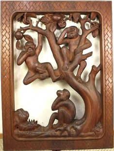 Three monkeys in the tree. A large woodcarved panel made for a restaurant Three Wise Monkeys, See No Evil, In The Tree, Brown And Grey, Gray, Mystic, Unique, Restaurant, Natural