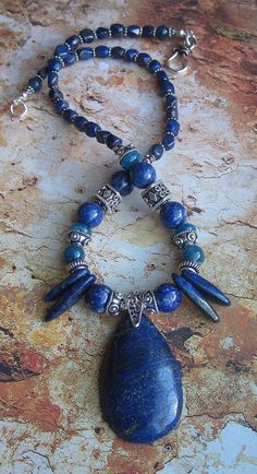 Lapis of Maat Lapis Apatite Silver Necklace by JKDKdesigns