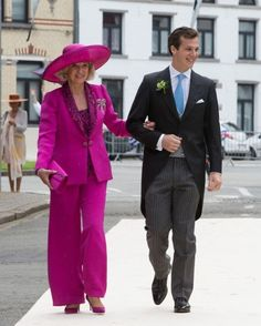 Count Guillaume de Dampierre with his mother Roselyne Castéja attends hiswedding ceremonyto Princess Alix of Ligne, in St. Peter's church in Beloeil, Belgium, on June 18, 2016
