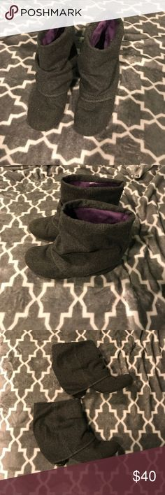 Blowfish booties Grey blowfish booties - purple inside, 2 1/2 inch heel, round toe. Heather grey wool like material. Extremely comfortable. Heel is scuffed (as seen in picture) but is covered by the heel overlay. Blowfish Shoes Ankle Boots & Booties