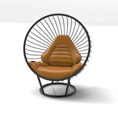 Matte Black Bubble Chair with Peanut Butter Leather Sports Car Cushion by Ben Rousseau Outdoor Chairs, Outdoor Furniture, Outdoor Decor, Bubble Chair, Cushion Fabric, Automotive Design, Texture Art, Modern Interior, Matte Black