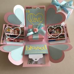 Explosion Box With Gift Box, 8 Waterfall In Pastel Colors