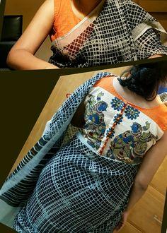 Kota cotton saree with kalamkari blouse...flow with the trend