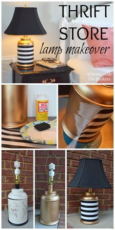 Thrift Store Lamp Makeover using Gold Spray Paint, Mod Podge and gift wrap