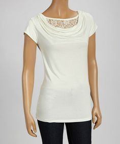 Love this Ivory Lace Drape Top - Women by Pine Apparel on #zulily! #zulilyfinds