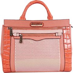 Nicole Lee Alecia Structure Faux Croc Tote Bag ($72) ❤ liked on Polyvore featuring bags, handbags, tote bags, manmade handbags, orange, orange tote, handbags totes, red tote, zippered tote bag and hand bags