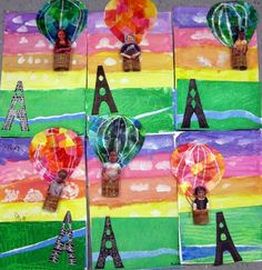hot air balloon art project--background could be the color wheel or rainbow lesson, symmetry lesson and perspective lessons all in one!