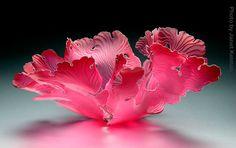 """Janet Kelman """"Ruby Seafan"""" Item #405123 slumped and sandblasted glass 19""""w x 20""""d x 10""""h"""