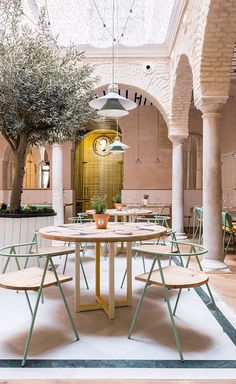 Tasked for the overhaul, Madrid-based designers Cristina Domínguez Lucas and Fernando Hernández-Gil have showered the restaurant in their signature fresh aesthetic, enhancing the building's original bones