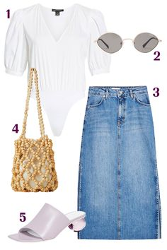 When You're Tired of Wearing Jeans, Try These Denim Skirt Outfits - Outfit Building Tips - Purple Outfits, Casual Outfits, Black Denim Midi Skirt, Leather Skirt, Skirt Fashion, Fashion Outfits, Denim Skirt Outfits, Ladies Dress Design, Everyday Outfits