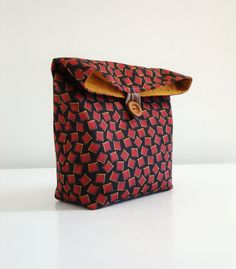 Handmade Pouch Red squares on Brown / cosmetic or by 464Handmade, $20.00
