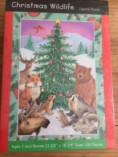 Christmas Wildlife Jigsaw Puzzle Great American Puzzle Factory 100 + Pieces 5 Up #greatamericanpuzzlefactory
